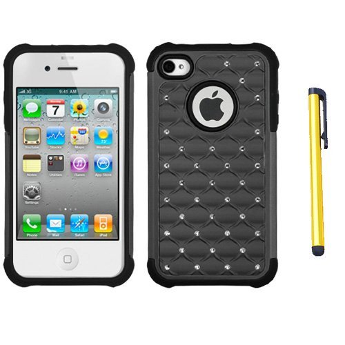 fits-apple-iphone-4-4s-hard-plastic-snap-on-cover-grey-black-luxurious-lattice-dazzling-totaldefense