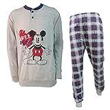 Disney Pigiama Uomo Lungo in Cotone Jersey Topolino/Paperino Art. WD14071/73 (Grigio Medio Melange, 48/M)