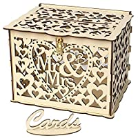 asterisknewly Rustic Hollow Wedding Card Box Wooden Wedding Card Post Box Collection Gift Card Boxes for Vintage Weddings Receptions Birthdays Graduations Baby Showers Décor