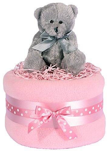 Teddy Bear à gâteau-Argent, Rose et Blanc panier cadeau pour bébé fille