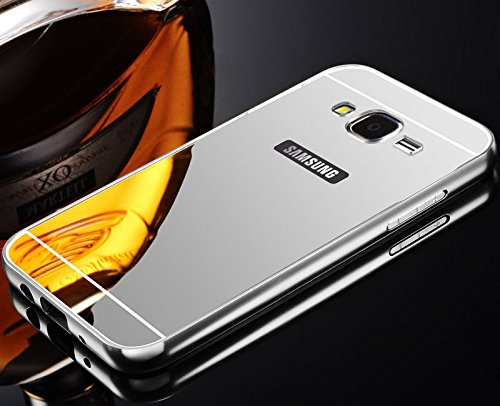 Kapa Luxury Mirror Effect Acrylic back + Metal Bumper Case Cover for Samsung Galaxy Grand I9082 - Silver