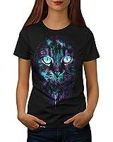 Cat Kitten Big Face Pet Love UK Women NEW Black T-shirt XS-2XL | Wellcoda