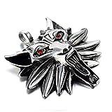 LOPEZ KENT Bijoux Pendentif Collier Homme-Acier Inoxydable-Witcher 3 Chef de Loup avec Rouge Œil-avec 60cm