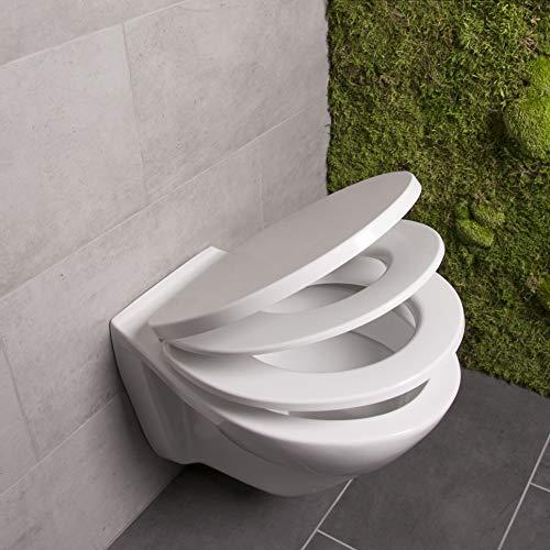 Bullseat WC Sitz Familie weiß mit optimalem Sitz für Kinder • Magnethalterung • Absenkautomatik/Softclose • abnehmbar • easyclean • Toilettendeckel • Klobrille •