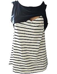 Inlefen Mujeres Embarazadas de Doble Capa de Patchwork Maternidad de Lactancia Materna y de Enfermería Tank Top Cami Camisa Camisa Tops