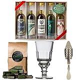 Absinth Starter Set | Komplett mit 5x original Absinth von ALANDIA | 1x Absinth-Glas | 1x Absinth-Löffel | 1x Zuckerwürfel | Auch super als Geschenk