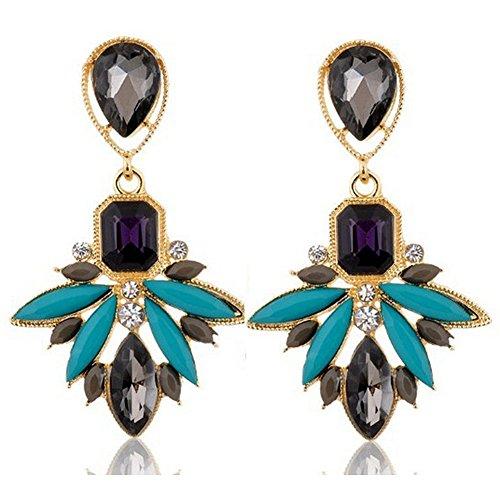 Hosaire 1 Paar Damen Mädchen Ohrringe Tropfen Wasser Kristall Glitzer Ohrstecker Geschenk(Blau) (Kostüm-ideen Mädchen Für Paar)