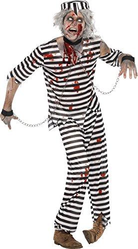Smiffys, Herren Zombie-Sträfling Kostüm, Oberteil, Hose, Mütze und Ketten-Handschellen, Größe: M, (Halloween Gefängnis Kostüme)