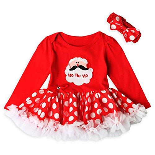 Hirolan Kleinkind Neugeboren Baby Mädchen Lange Hülse Tops Prinzessin Santa Claus Tutu Kleid Weihnachten Outfits Set Baumwolle Mode Eine Linie Knie-Länge Kleider Anzüge Mit Stirnbänder (70cm, Rot)