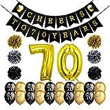 Howaf 70. Geburtstag Party Dekorationen, Prost auf 70 Jahre Banner Wimpelgirlande, Schwarz und Gold Party Luftballons Latexballons, Folienballons Geburtstag, Pom Poms, Erwachsene 70. Geburtstag deko