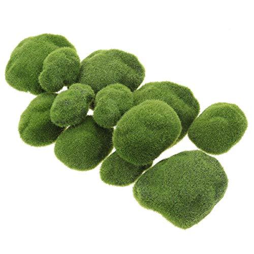 Simulation Moos Unregelmäßige Grüne Steine ??Gras Aquarium Gartenpflanze DIY Micro Landschaft Dekoration Gefälschte Pflanzen (12 Moos Steine) -