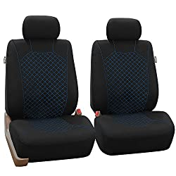 Black Friday Sale : FH-FB066102 Fabric Bucket Seat Covers with Ornate Diamond Stitching Blue / Black - Fit Most Car, Truck, Suv, or Van