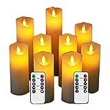 LED Kerzen im 9er Set (10,2 cm 12,7 cm 15,2 cm 17,8 cm 20,3 cm 22,9cm) Realistisch flackernde LED-Flammen aus Echtwachs in Elfenbeinfarbe. 10-Tasten Fernbedienung mit 24 Stunden Timer-Funktion - 2