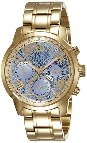 GUESS Women's Quartz Watch with Blue Dial Analogue Display and Gold Stainless Steel Bracelet W0330L13