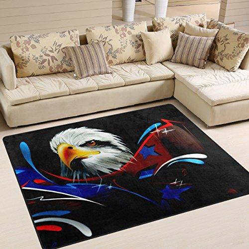 DEYYA Contemporary American Bald Eagle-Entwurf Griffige Bereich Teppich, Cozy Shag Kollektion Massiv Flokati Moderne Wohn-Schlafzimmer weicher Teppich Teppich 5'25