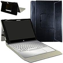 """HP Spectre x2 12 12-a000 Series Funda,Mama Mouth 2-en-1 Portafolio de Cuero Sintético con Soporte y Base de Teclado desmontable para para 12"""" HP Spectre x2 12 12-a000 Series Windows 10 2-in-1 Tablet,Negro"""
