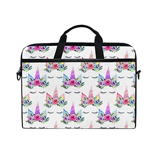 Ahomy 33,3-35,6 cm Laptop-Tasche, Aquarell-Einhorn, Wimpern, multifunktional, Stoff, wasserdicht, Laptop-Tasche mit Schultergurt
