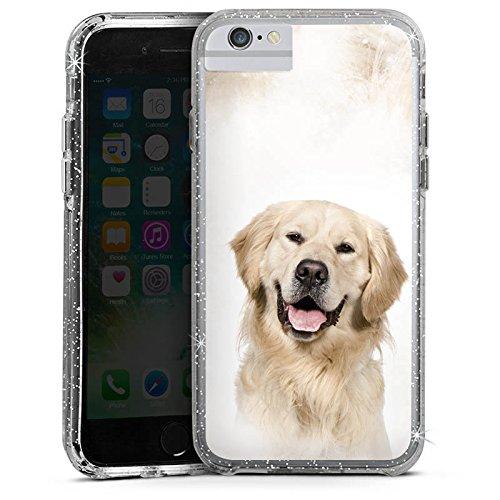 Apple iPhone 8 Bumper Hülle Bumper Case Glitzer Hülle Golden Retriever Hund Dog Bumper Case Glitzer silber