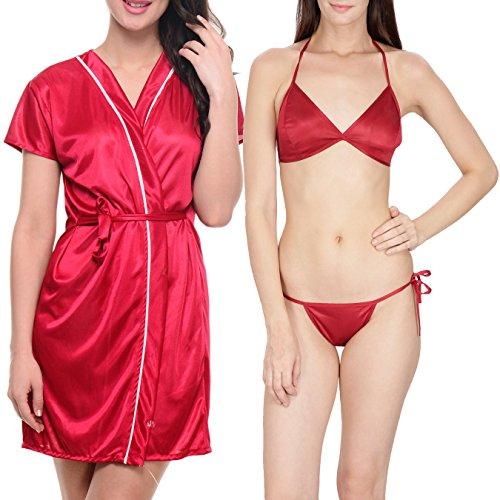 Klamotten Satin Women Sexy Nightwear and Bikini Set Combo 11M-04