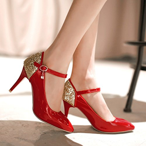 YE Damen Knöchelriemchen High Heels Spitze Lackleder Glitzer Stiletto Pumps mit Pailletten und Schnalle Elegant Schuhe Rot