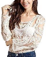 2016 Mangotree Damen Häkelarbeit Spitzenbluse Bluse Tops Sheer Stickerei T Shirt Frauen Beachwear Pullover