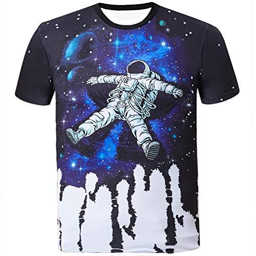 Sykooria T Shirt Teenager Herren Kurzarm Sommer Voll Digital Astronaut Unisex Dame Paar's T-Shirt Tees (Digital Sommer)