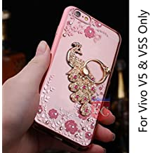 KC Bling Beautiful Peacock Rhinestone Finger Ring Holder Case 360 Degrees Finger grip for Vivo V5 & Vivo V5S - Rose Gold + Pink