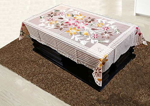 Kuber Industries™ Center Table Cover Brown Floral Design in Cloth 40*60 Inches KI3556_10