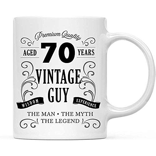 Regalo de cumpleaños para hombres mayores de 70 años Diseño de botella de whisky 70 Ideas de regalo de cumpleaños para hermano Hijo esposo Tío 11 oz,taza de té de cerámica,tazas de café de la novedad