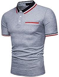Cinnamou Polo para Hombre Manga Corta Moda Raya Contraste Collar Golf Camiseta de Solapa y Bolsillo Decoración