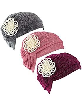 Ever Fairy® 3colori confezione Chemo cancro testa sciarpa cappello etnico panno Pearl turbante cappello beanie...