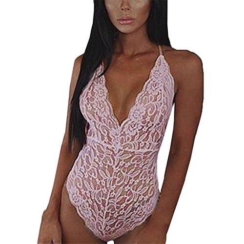 Moonuy,Frauen-Unterwäsche, glatte Touch Gefühl Nachtwäsche, weibliche Spandex ärmellose Playsuit, Spitze rückenfreie Overall Dessous Bodysuit Pyjamas (Rosa, EU 40 / Asien XL)