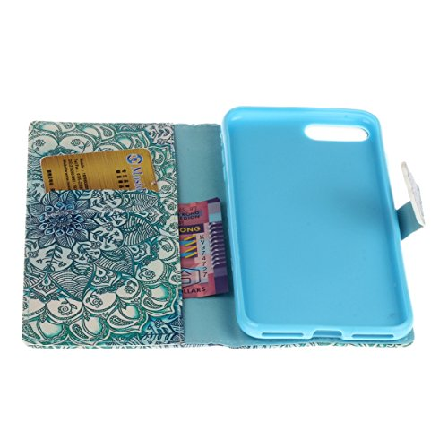 Etsue Custodia iPhone 7 Plus Portafoglio,iPhone 7 Plus Cover Vintage,Lusso Style Farfalla&Fiori Modello Scintillare Diamond Marina Flip/Wallet/Libro in Pelle Puro Anti Scratch Case Cover Per iPhone 7  &4