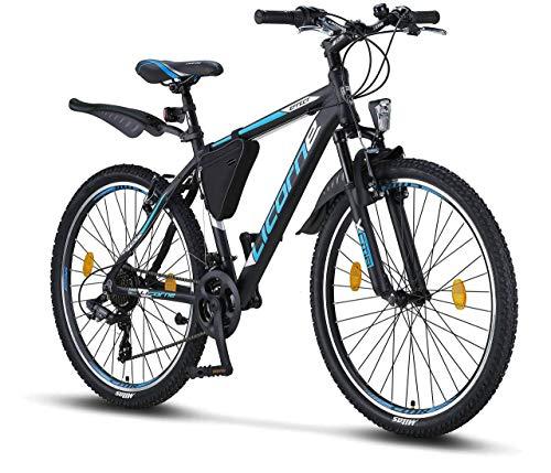 Licorne Bike Effect (Schwarz/Blau) 26 Zoll Mountainbike, MTB, geeignet ab 150 cm, Shimano 21 Gang-Schaltung, Gabelfederung, Jungen-Fahrrad & Herren-Fahrrad, Rahmentasche