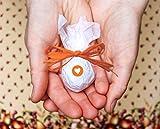 Seedball Gastgeschenk mit Herz, Mandarine