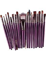 Voberry® Professionnel 20 pcs/set Pinceaux - Brosse de Maquillage / Brush Cosmétique Beauté & Make-up Manche en Bois Or (E)