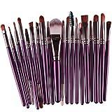 Voberry Professionnel 20 pcs/set Pinceaux - Brosse de Maquillage / Brush Cosmétique Beauté & Make-up Manche en Bois Or (E)