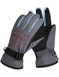 Guantes de esquí cálido invierno de las mujeres al aire libre del alpinismo de la motocicleta guantes del coche eléctrico del viento engrosamiento de cachemir Plus ( Color : Gray )