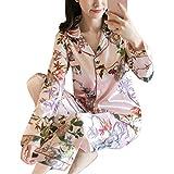 ORANDESIGNE Damen Pyjamas Sets Frühling Herbst Klassische Schlafanzug Satin V-Ausschnitt Zweiteiliges Nachtwäsche Nachthemd Lang Elegant Licht Langarm Shirt und Hosen B Rosa 01 DE 38