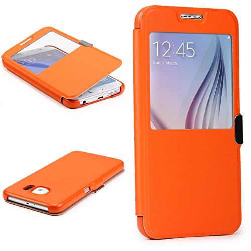 Urcover® View Case | Samsung Galaxy S4 Mini | Hart Kunststoff Orange | Elegant Wallet Cover Sicht-Fenster | leichte Schale dünne Tasche