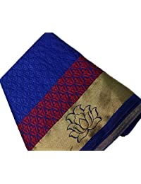 Nirja Creation Cotton Silk Saree With Blouse Piece(Nc-Fr-737_Blue Free Size)