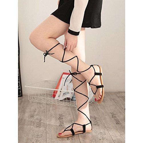 Kivors Femme Eté Lanière Sandales Plat Sandales de Plage Style Rome Chaussures Noir