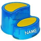 Unbekannt Kindersitz / Trittschemel / Tritthocker - Incl. Namen - groß - Blau - Ideal als Erhöhung & Sitz - Kinderhocker - Toilettentrainer - für Kinder Mädchen Jungen - Kinderschemel & Kindertritt