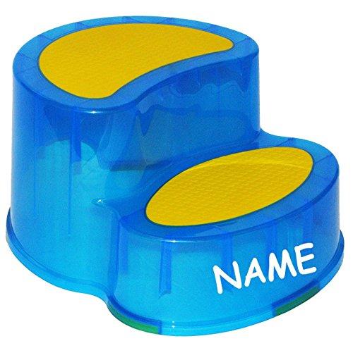 Unbekannt Trittschemel / Tritthocker / Kindersitz - incl. Namen - groß - BLAU - Kinderschemel & Kindertritt - ideal als Erhöhung & Sitz - Kinderhocker - auch für Toilet..
