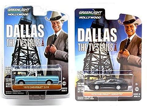 DALLAS TV Show Series Car Set - Greenlight 1978 Chevrolet Corvette C3 & 1970 Chevy Pickup Truck