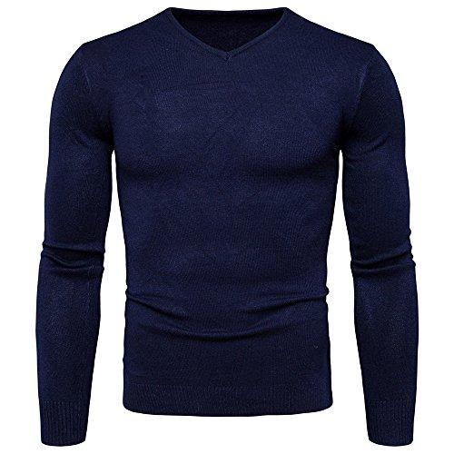 Herren Herbst/Winter Pullover Pulli Strick Gestrickt V-ausschnitt Einfarbig Langarm Plain Slim Fit Casual 2017, (V-neck-liege)