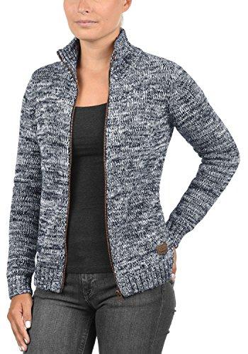 DESIRES Phenix Damen Strickjacke Grobstrick Cardigan Strickcardigan mit Reißverschluss Und Stehkragen Aus 100% Baumwolle, Größe:XS, Farbe:Insignia Blue (1991) - 3