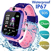 Jaybest Kids SmartWatch Waterproof, Touch Screen Mobile Smart Watches Phone for 3-13 Year Old Girls Boys, SOS Call Anti-Lost Sim Card Smartwatch with Camera, Game for Children Gift(Rose-red)