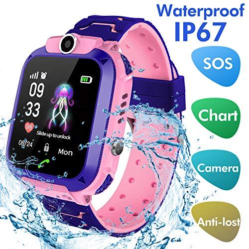 Jaybest Reloj Inteligente Smartwatch para niños, rastreador de ubicación LBS, Reloj del teléfono, Reloj de cámara, Chat de Voz, Llamadas telefónicas(Rosa)