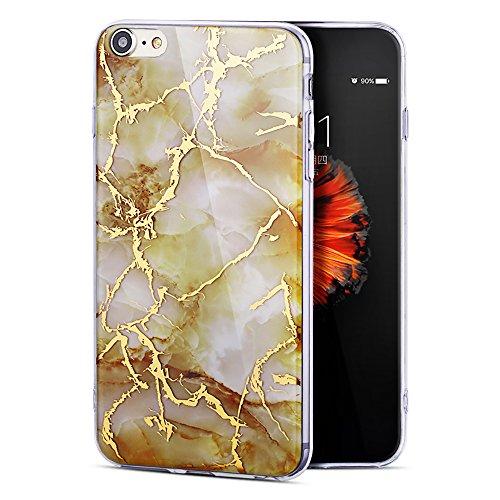 """iPhone 6sPlus Schutzhülle, Neue Marmor CLTPY iPhone 6Plus Schlank Hybrid Handytasche Leichtbau Gummi Abdeckung Luxus Bunt Motiv Back Cover für 5.5"""" Apple iPhone 6Plus/6sPlus (Nicht iPhone 6/6s) + 1 x  Gelb"""
